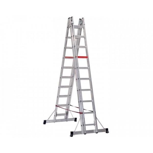 Двухсекционная телескопическая алюминиевая лестница VIRASTAR 2x10 ступеней