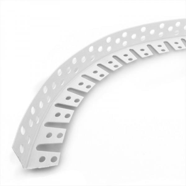 Уголок защитный перфорированный арочный (ПВХ), 3000 мм.