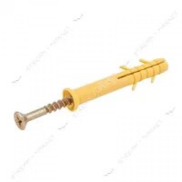 Дюбель для быстрого монтажа желтый 6х40 БЕЗ воротника, 100 шт